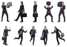 Precipitare dell'uomo d'affari isolato sui precedenti bianchi Fotografie Stock Libere da Diritti