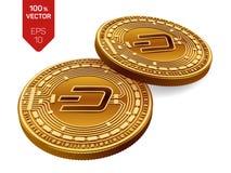 precipitare Valuta cripto monete fisiche isometriche 3D Valuta di Digital Monete dorate con il simbolo del un poco isolate su fon Immagini Stock
