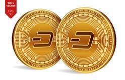 precipitare Valuta cripto monete fisiche isometriche 3D Valuta di Digital Monete dorate con il simbolo del un poco isolate su fon Immagini Stock Libere da Diritti