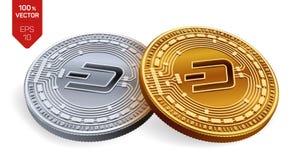 precipitare Valuta cripto monete fisiche isometriche 3D Valuta di Digital Monete dorate e d'argento con il simbolo del un poco is Fotografie Stock