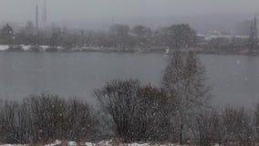 Precipitatie in de vorm van sneeuw stock video