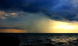 Precipitation over the Black sea stock photography