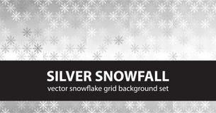 Precipitazioni nevose d'argento stabilite del modello del fiocco di neve Backgroun senza cuciture di vettore Immagine Stock Libera da Diritti