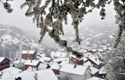 Precipitazioni nevose della primavera Fotografia Stock