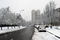 Precipitazioni nevose di inverno nella capitale del distretto di Fabijoniskes della città della Lituania Vilnius Fotografia Stock Libera da Diritti