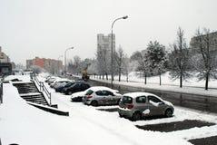 Precipitazioni nevose di inverno nella capitale del distretto di Fabijoniskes della città della Lituania Vilnius Immagini Stock Libere da Diritti
