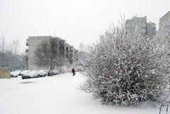 Precipitazioni nevose di inverno nella capitale del distretto di Seskine della città della Lituania Vilnius Immagini Stock Libere da Diritti
