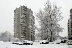 Precipitazioni nevose di inverno nella capitale del distretto di Seskine della città della Lituania Vilnius Immagine Stock Libera da Diritti
