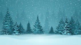 Precipitazioni nevose ed abeti coperti di brina e di neve nella foresta di sera nell'inverno Grafico avvolto di moto illustrazione di stock