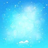 Precipitazioni nevose, fondo blu di inverno dell'estratto, illustrazione di vettore Fotografie Stock