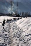 Precipitazioni nevose in montagne Fotografia Stock