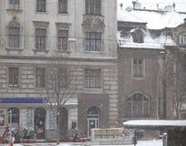 Precipitazioni nevose nella città Immagine Stock Libera da Diritti