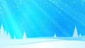 Precipitazioni nevose, neve ed abeti coperti di brina e di neve nella foresta di sera nell'inverno illustrazione vettoriale
