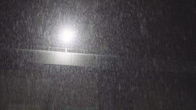 Precipitazioni nevose pesanti di notte con una lampada stock footage