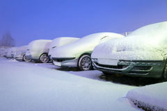 Precipitazioni nevose pesanti in Polonia Fotografie Stock