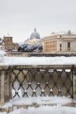 Precipitazioni nevose rare a Roma. Fotografia Stock Libera da Diritti