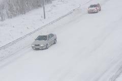 Precipitazioni nevose su ad alta velocità Immagine Stock