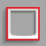 Precipitazioni nevose sulla struttura rossa e bianca illustrazione di stock