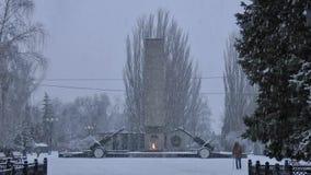 Precipitazioni nevose, un monumento agli eroi video d archivio