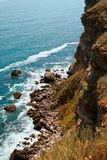 Precipitous coast. Kaliakra, Bulgaria. Royalty Free Stock Photos