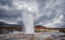Precis ett litet drev från Reykjavik royaltyfri foto
