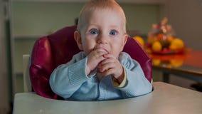 Precis fött barn som äter en ljusbrun intelligens hans händer stock video