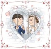 Precis gift par i arrestvektortecknad film Fotografering för Bildbyråer
