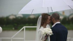 Precis gift par som går i regnig dag på terrassen med paraplyet stock video