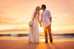 Precis gift par som kysser på den tropiska stranden på solnedgången arkivfoton