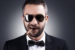 Precis mig och min cigarr Arkivfoton