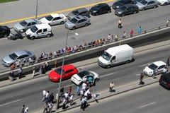 Precis uppstod en trafikolycka royaltyfria bilder
