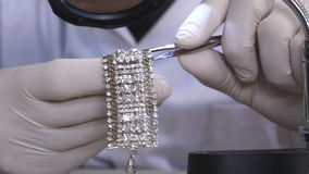 Precise Inlay Of Diamond on a Bracelet stock video footage