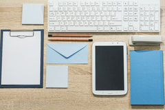 Precisely arranged desk Stock Images