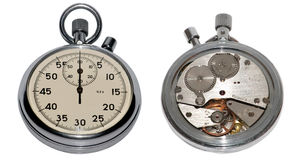 Precision. The mechanism of a manual stop-watch Stock Photo