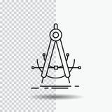 Precision accure, geometri, kompass, mätningslinje symbol på genomskinlig bakgrund Svart symbolsvektorillustration stock illustrationer