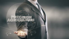 Precision Agriculture with hologram businessman concept