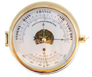 Precision Barometer. A brass precision barometer as could be used on a boat, ship or yacht Stock Image