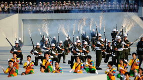 Precision drill by the military police during NDP Stock Images