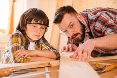 Precision is the most important part of carpentry. Concentrated young male carpenter showing his son how to work with wood in workshop Stock Images
