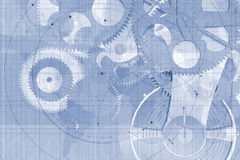 Precision parts background. A bluish, illustrated background with many precision gears and machined parts set on a technical or engineering drawing background royalty free illustration