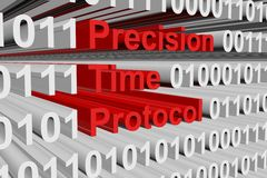 Precision Time Protocol. In the form of binary code, 3D illustration Stock Photo