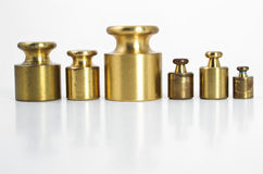 Precision Weights. A set of precision weights for a balance scale Royalty Free Stock Photo