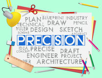 Precision Words Shows Accuracy Accurate And Precise. Precision Words Representing High Quality And Accuracy Stock Images