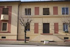 Social housing build by Benito Mussolini. Predappio, Italy - December 22, 2017 : Social housing build by Benito Mussolini in Predappio Stock Photos
