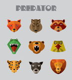 Predator animals icons. Vector format. Royalty Free Stock Photos