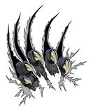 Predator claws. Scary animal claws tearing white background surface Stock Image