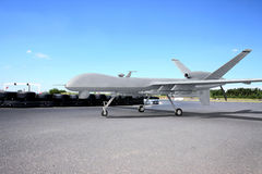 Predator comabt drone on ground. With blue sky vector illustration