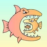 Fishes. Predator eats predator. Hungry evil fish. Vector illustration Royalty Free Stock Photos