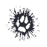 Predator paw print among the mud splashes. On the image presented predator paw print among the mud splashes Stock Photo