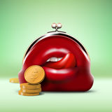Predator Purse with Coins. Red Predator Purse with Open Mouth and Coins Stock Images